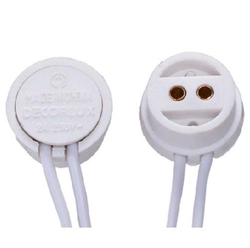 Soquete Bipino para lâmpadas com base T5 c/ rabicho 12cm