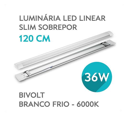 Luminária Linear Super LED SLIM Sobrepor 120cm 36W Bivolt Branca Fria