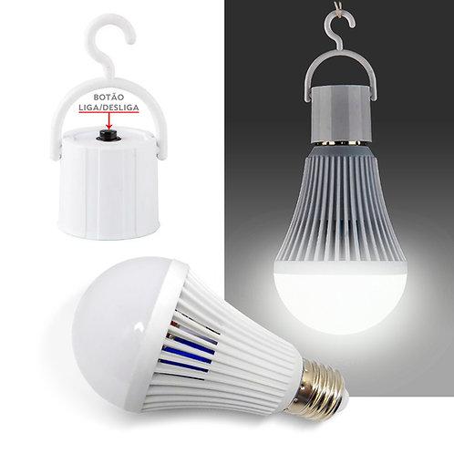Lâmpada LED Emergência Recarregável 7W Bivolt E27 Branca Fria - Com Bocal Gancho