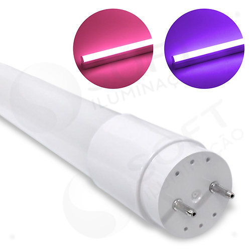 Lâmpada LED Tubular T8 360º 18W 120cm Vidro Bivolt ROSA | ROXA