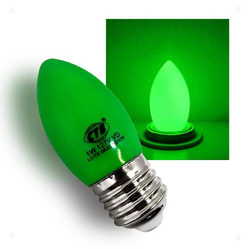 Lâmpada Decorativa Vela LED COLOR 1W 127V E27 - VERDE