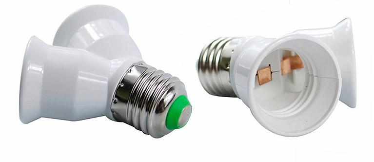 Adaptador Bocal Duplo Base E27 | Tipo Y