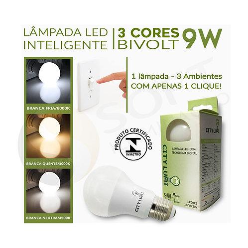 Lâmpada LED Inteligente | Alterna 3 Tons de Luz - Fria/Quente/Neutra | 9W Bivolt