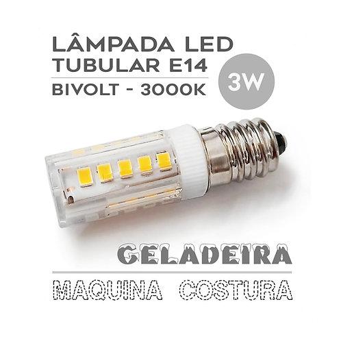 Lâmpada LED E14 Tubular 3W Bivolt Máq. Costura / Geladeira - Branca Quente