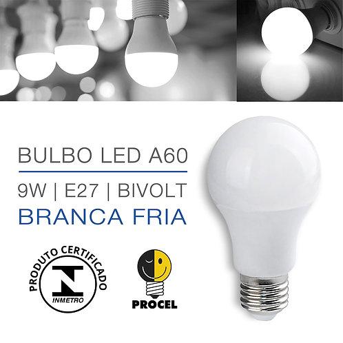 Lâmpada A60 LED 9W Bivolt E27 Branco Frio