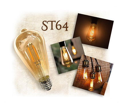 Lâmpada LED ST64 Filamento Retrô Vintage 4G 3,2W E27 Bivolt 2300K