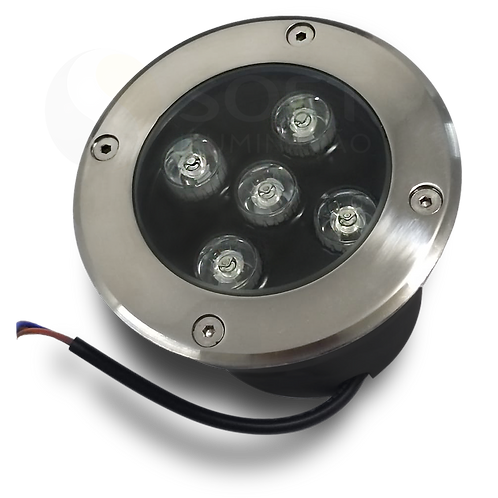 Balizador LED de Piso Spot Embutir Redondo 5W Bivolt IP65 Luz Verde