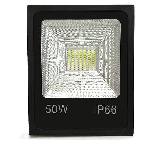 REFLETOR HOLOFOTE LED SLIM SMD 50W  Preto | Luz Branca Fria/6000K | Linha Expert