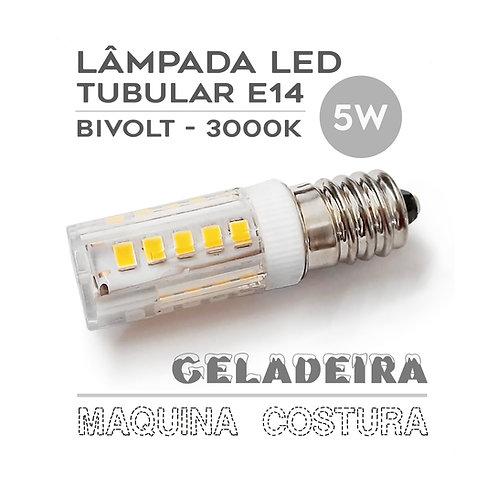 Lâmpada LED E14 Tubular 5W Bivolt Máq. Costura / Geladeira - Branca Quente