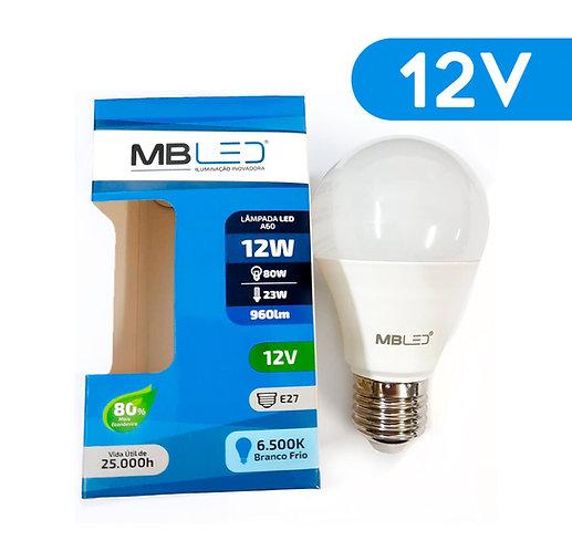 Lâmpada LED 12V - Uso Com Bateria - A60 12W E27 Luz Branca Fria 6000K