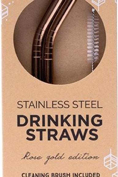 ever Eco Rose Gold Straws 2 Pack Bent
