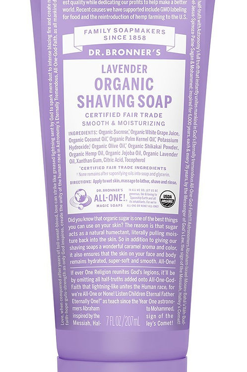 Dr Bronner's Organic Shaving Soap 208ml