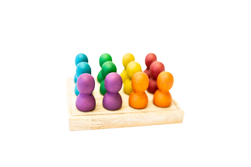Large Rainbow People on Wooden Tray