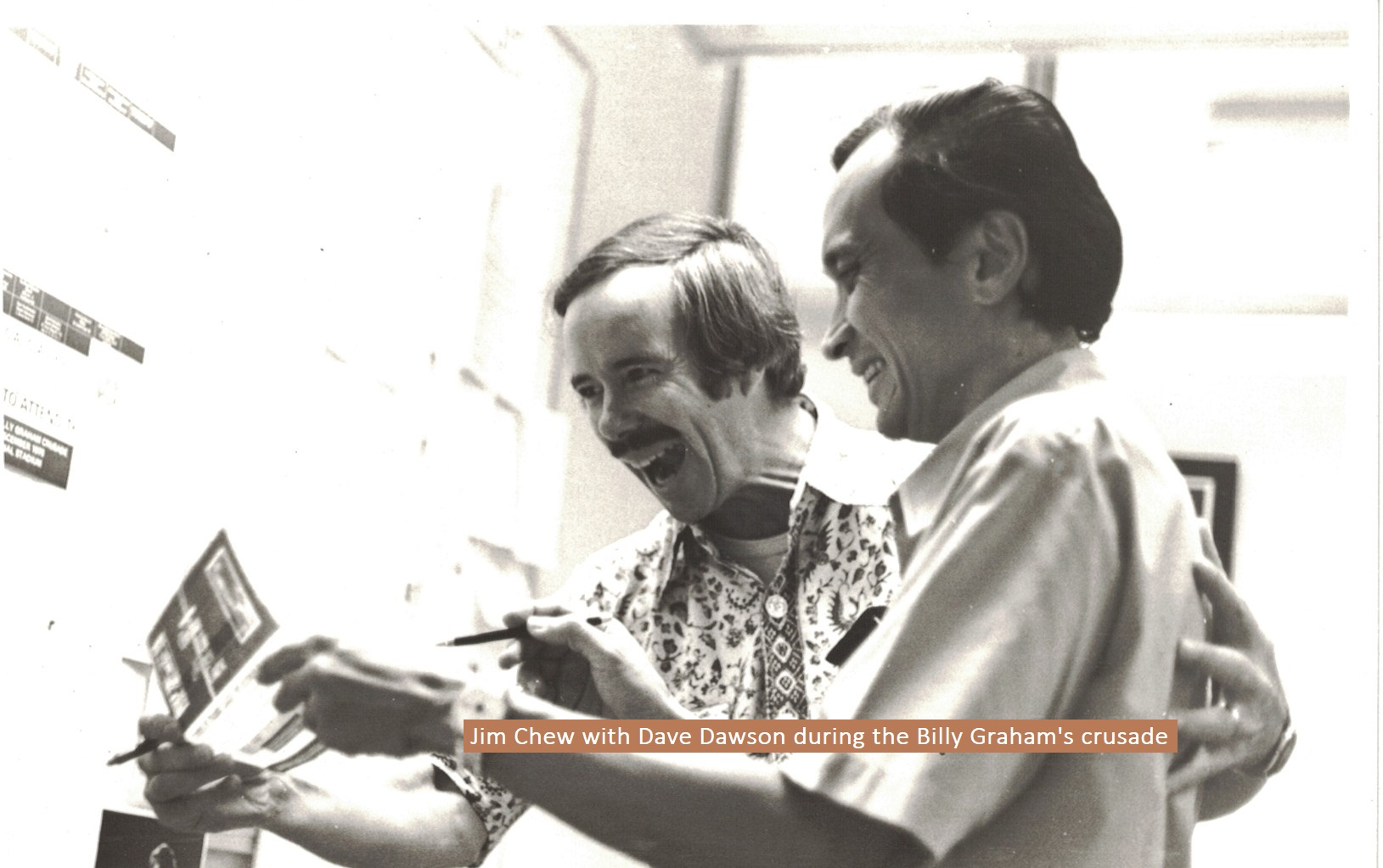 Jim Chew with Dave Dawson during Billy Graham's crusade