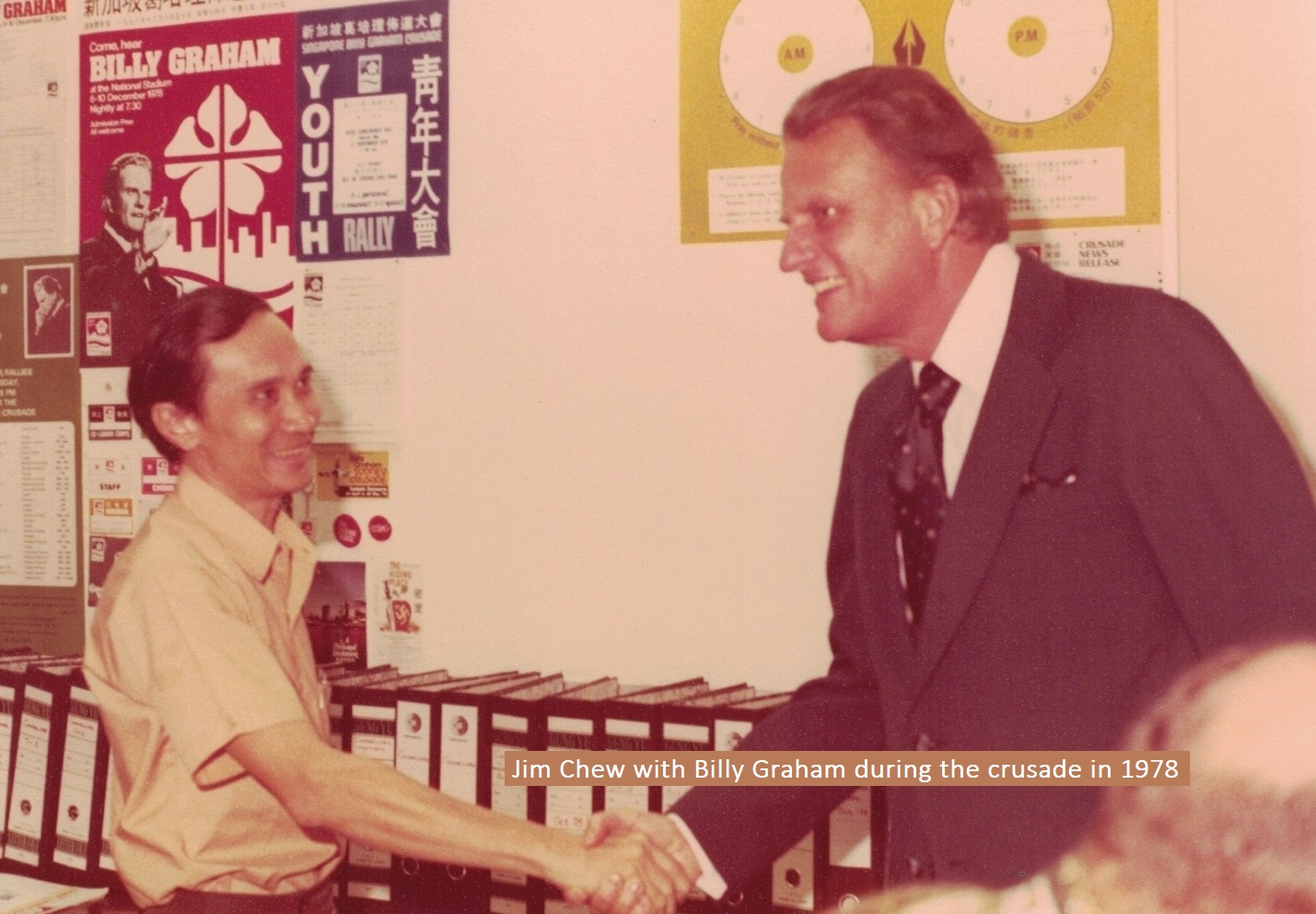 Jim Chew with Billy Graham during the crusade in 1978