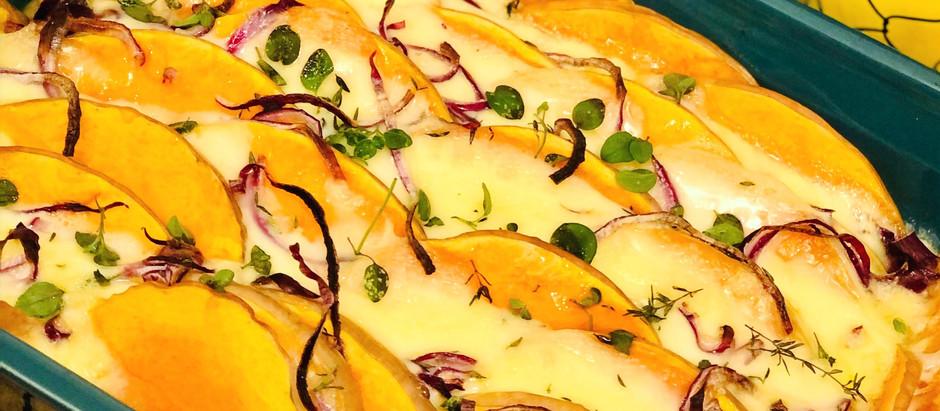 Low Carb Butternutkürbis-Raclette-Käse-Auflauf
