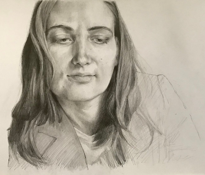 Self portrait graphite on Bristol board