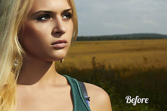Pretty blonde girl outdoors portrait serious model