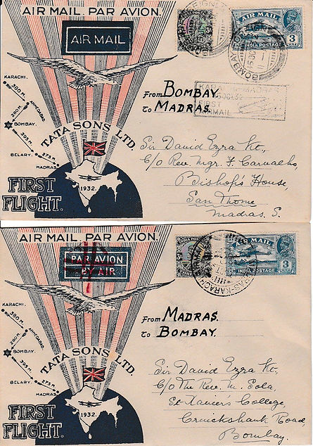 BOMBAY MADRAS BOMBAY STEPHEN SMITH SIGNED TATA FLIGHT COVER 1932 JRD TATA FLOWN INDIAN AIRMAILS RARE UNIQUE AIR INDIA FIRST FLIGHT COVER FFC