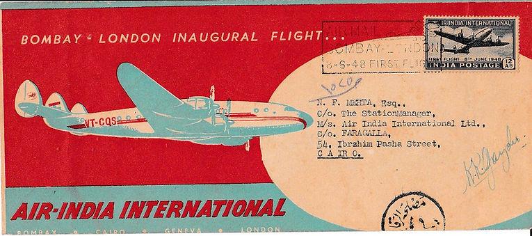 AIR INDIA first flight cover signed_8TH JUNE 1948 pilot K.R. Guzder