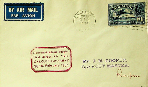 INDIA 1935 GV 3as ON CALCUTTA BOMBAY DEMONSTRATION  FFC CALCUTTA TO RAIPUR.jpg
