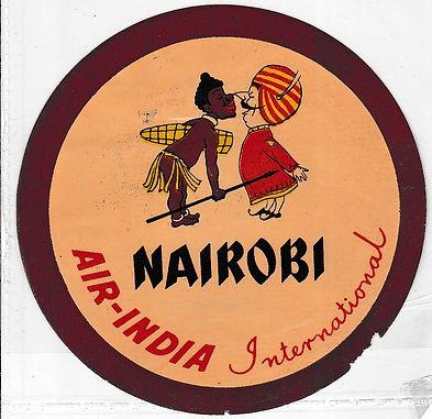 AIR INDIA LUGGAGE LABEL_NAIROBI
