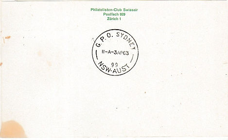 AIR INDIA GENEVA SYDNEY 1ST APRIL 1963..