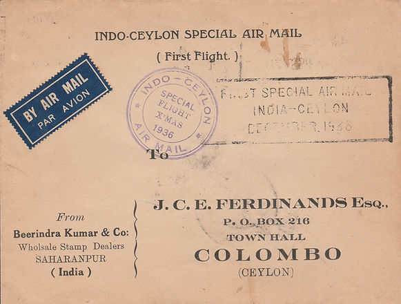 1936 XMAS FLIGHT SAHARANPUR CEYLON FFC.j