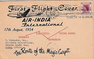 AIR INDIA 17 AUGUST 1954 HONG KONG BOMBAY flight cover