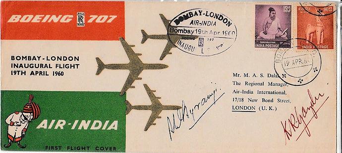 AIR INDIAfirst flight cover signed 19TH APRIL BOMBAY LONDON K.R. Guzder Byramjee