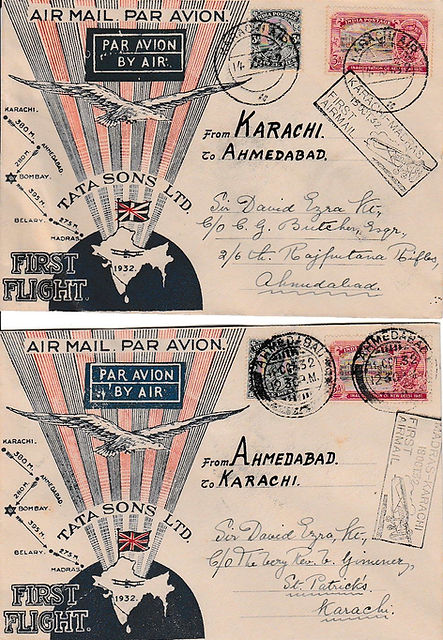 KARACHI AHEMDABAD KARACHISIGNED TATA FLIGHT COVER 1932 JRD TATA FLOWN INDIAN AIRMAILS RARE UNIQUE AIR INDIA FIRST FLIGHT COVER FFC