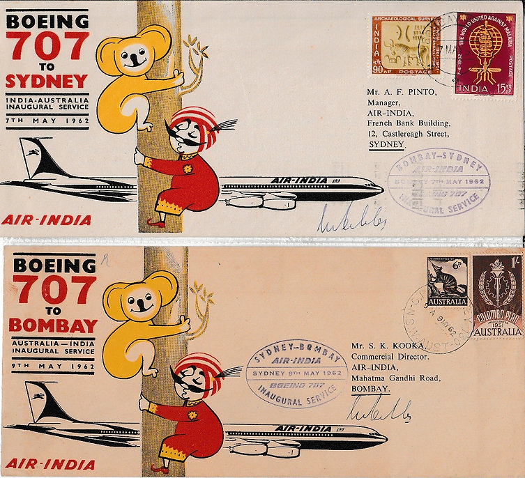 AIR INDIA first flight cover signed_7TH MAY 1962 BOMBAY Sydney S.F. Pedder