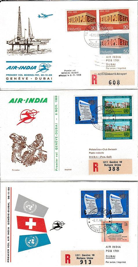 AIR INDIA 1969 GENEVA DUBAI 6TH NOV 1969 FFC PHILA SERVICE