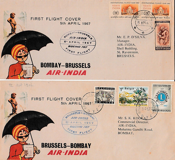 AIR INDIA 1967 BOMBAY BRUSSELS BOMBAY 5TH APRIL
