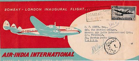 AIR INDIA FFC 8TH JUNE 1948 SIGNED GUZDER PILOT