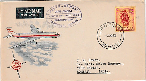 AIR INDIA 1962 BOMBAY PERTH BOMBAY 1ST 3RD OCT FFC