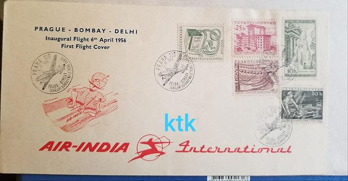 AIR INDIA FFC PRAGUE PRAHA DELHI BOMBAY 06 APRIL 1956 FIRST FLIGHT COVER INAUGURAL