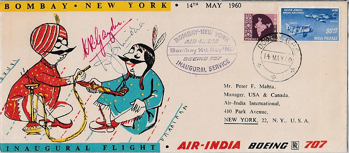 AIR INDIA first flight cover signed_14TH MAY 1960 BOMBAY NEW YORK. K.R. Guzder