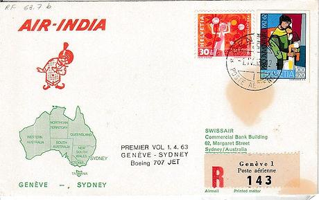 AIR INDIA 1963 GENEVA SYDNEY 1ST APRIL 1963 FFC
