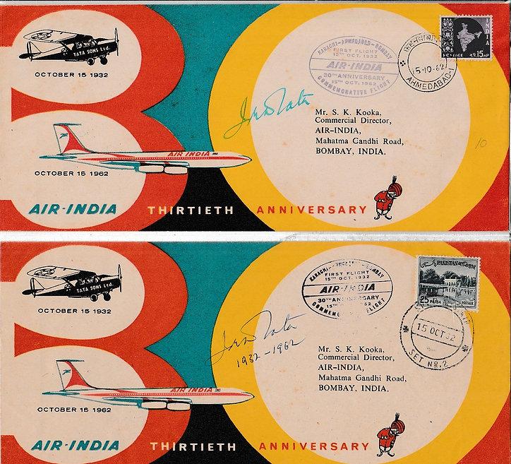 AIR INDIA first flight cover KARACHI AHEMDABAD BOMBAY 15TH October 1962 J.R.D. TATA Signature
