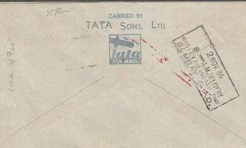 1935 TRIVANDRUM BOMBAY TATA AIRLINES FFC