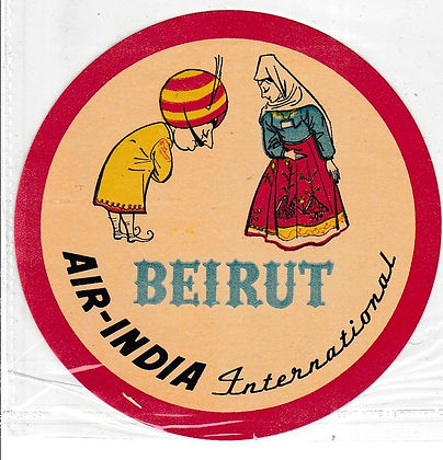 AIR INDIA LUGGAGE LABEL BEIRUT