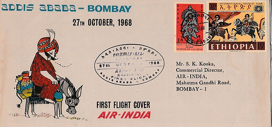 AIR INDIA 1968 BOMBAY ADDIS ABABA BOMBAY  27TH 30TH OCTOBER FFC SWAHILI CANCEL