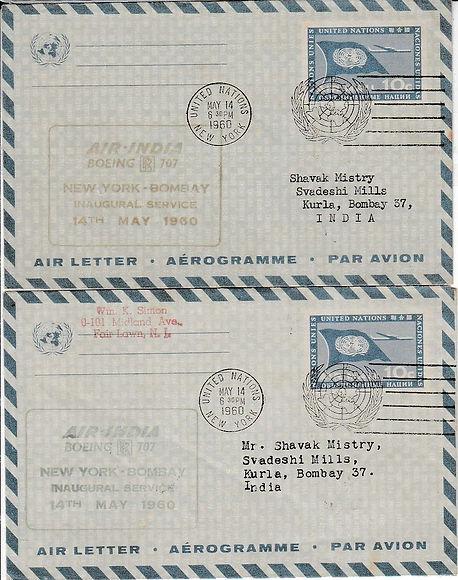 AIR INDIA_14TH MAY 1960 NEW YORK BOMBAY.