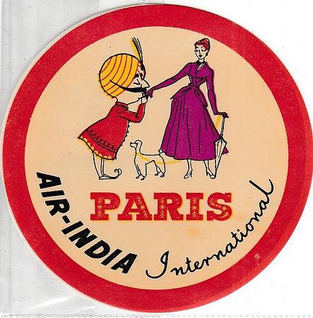 AIR INDIA LUGGAGE LABEL_PARIS