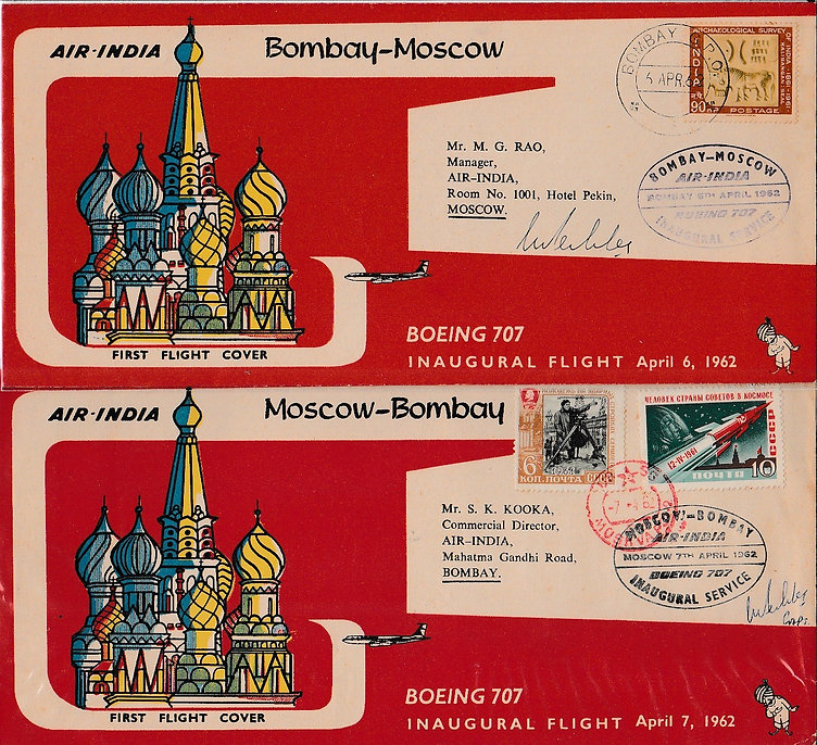 AIR INDIA first flight cover signed_6th April 1962 BOMBAY LONDON S.F. Pedder