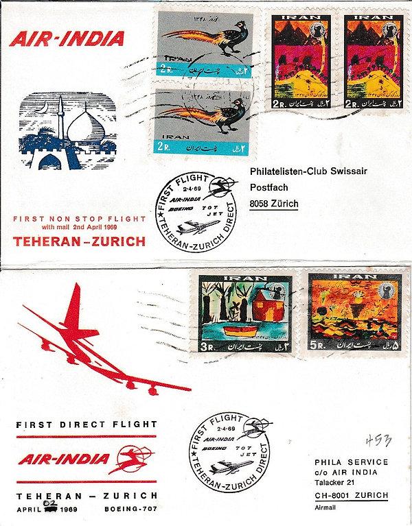AIR INDIA 1969 TEHERAN ZURICH  2ND APRIL 1969 FFC