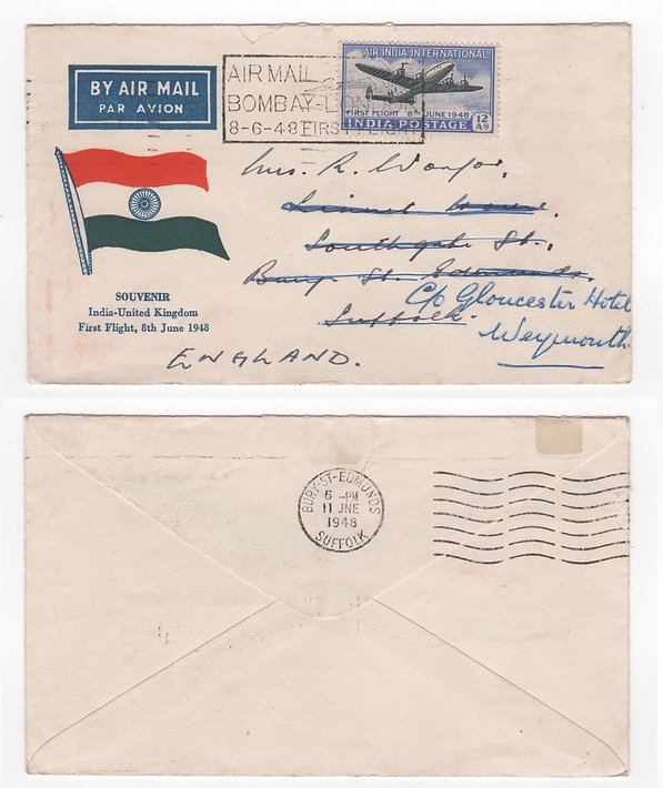 1948 INDIA First Day & Flight Cover AIR