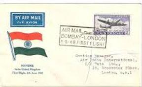 8th June 1948 post & telegraph air india flight covers