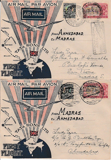 AHEMDABAD MADRAS AHEMDABAD BELLARY BOMBAY KARACHI  N VINTCENT SIGNED TATA FLIGHT COVER 1932 JRD TATA FLOWN INDIAN AIRMAILS RARE UNIQUE AIR INDIA FIRST FLIGHT COVER FFC